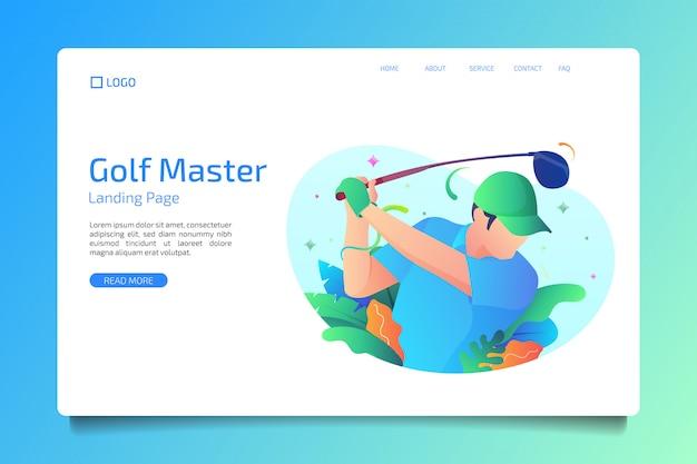 Golfsport-landingpage im flachen stil Premium Vektoren