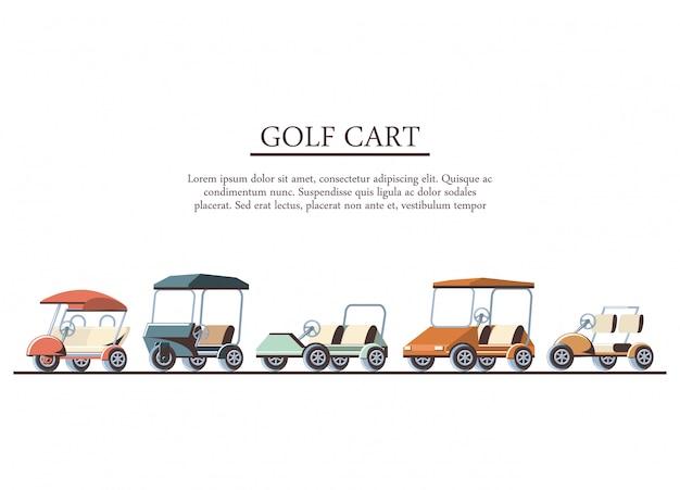 Golfwagen stellen icons Premium Vektoren
