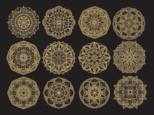 Golgen mandala bühnenbild. asiatische, arabische, koreanische dekorative blumenmandalasammlung Premium Vektoren
