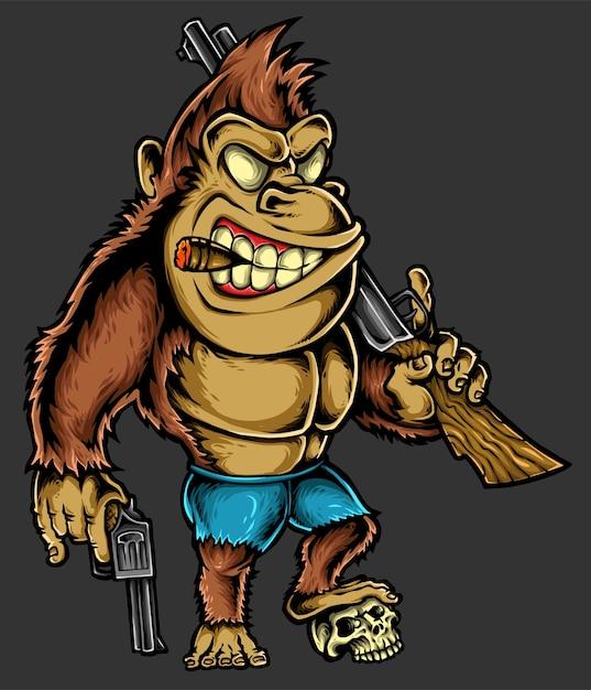 Gorilla charakter Premium Vektoren