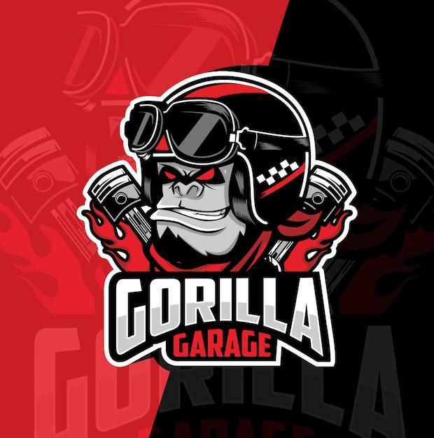 Gorilla garage maskottchen esport logo design Premium Vektoren