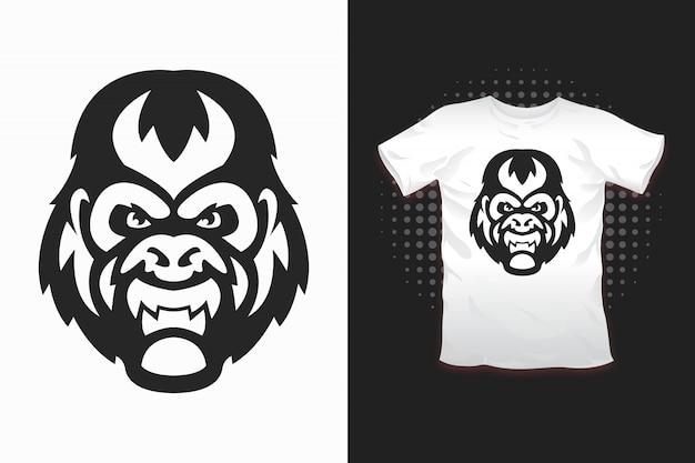 Gorilla print für t-shirt design Premium Vektoren