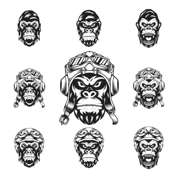 Gorilla riders kopf Premium Vektoren
