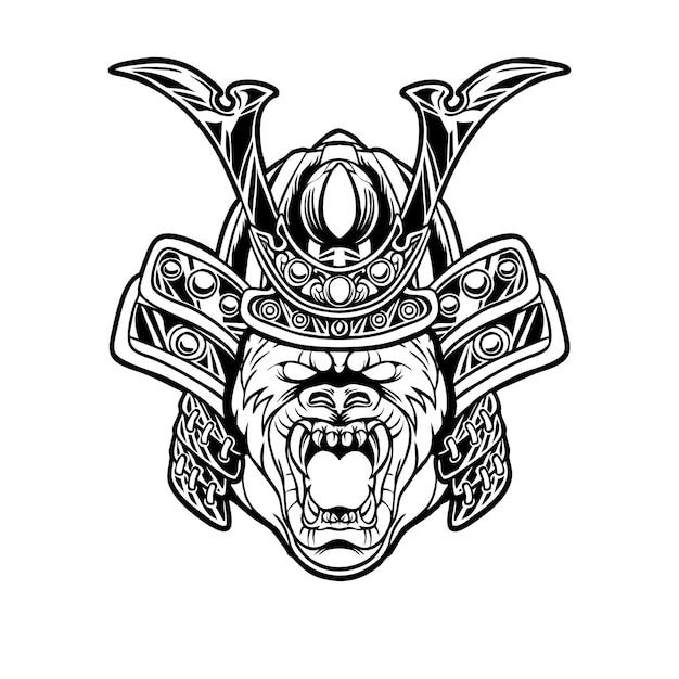 Gorilla samurai kopf illustration Premium Vektoren