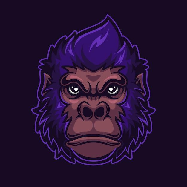 Gorilla tierkopf cartoon logo vorlage illustration. esport logo gaming Premium Vektoren