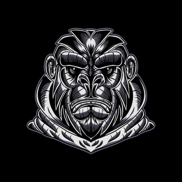 Gorillagesichts-vektorillustration Premium Vektoren