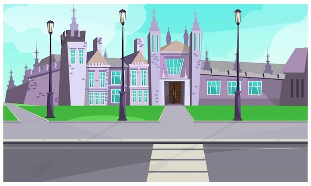 Gotische villa auf stadtstraßenillustration Kostenlosen Vektoren