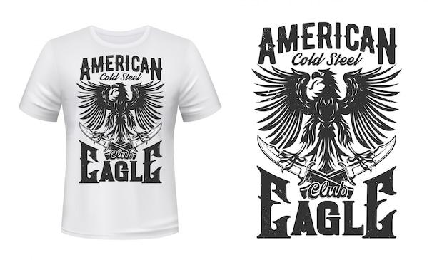 Gotischer adler und dolche für t-shirt design Premium Vektoren