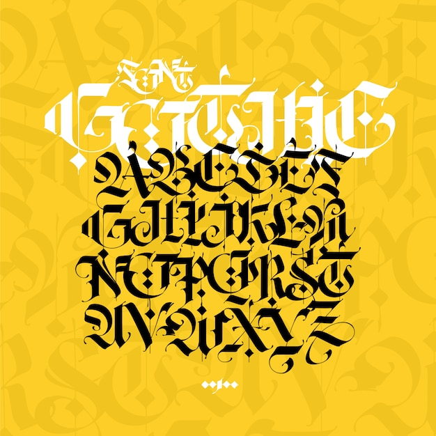 Gotisches alphabet. moderne gotik. schwarze kalligraphische buchstaben auf gelbem grund. Premium Vektoren
