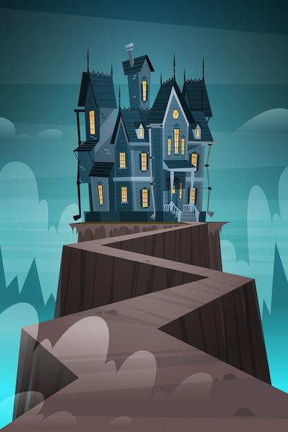 Gotisches schloss-haus im mondschein furchtsam, halloween-feiertags-konzept Premium Vektoren