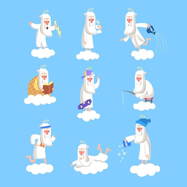 Gott charakter in aktion auf wolke. set der täglichen rutine des schöpfers. arbeitstage im himmel. illustration für buch, karte, plakat, soziales netzwerk. Premium Vektoren