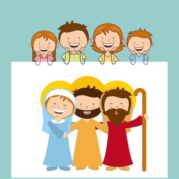 Gott und familie design Premium Vektoren