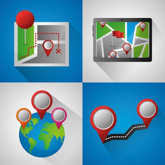 Gps-navigation anwendung banner welt pin karten straße standorte technologie bildschirm Premium Vektoren