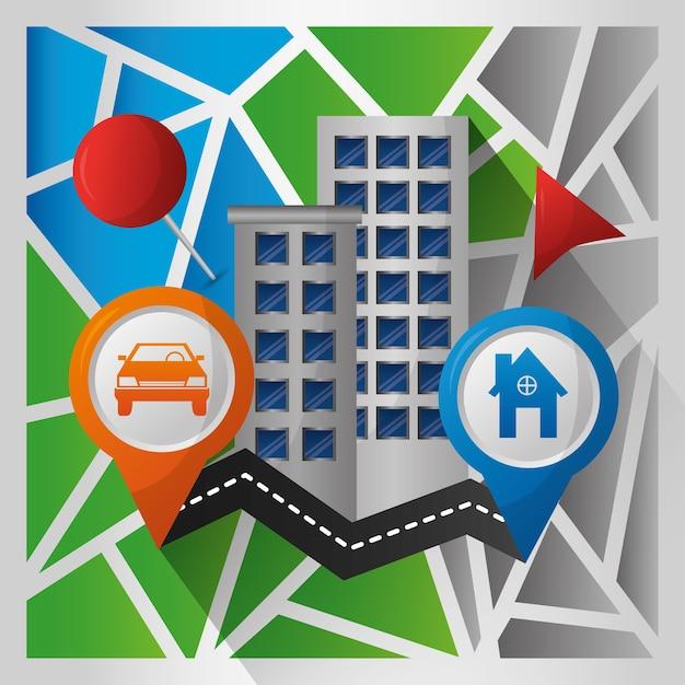 Gps-navigation anwendung straße ziel gebäude pin karten Premium Vektoren