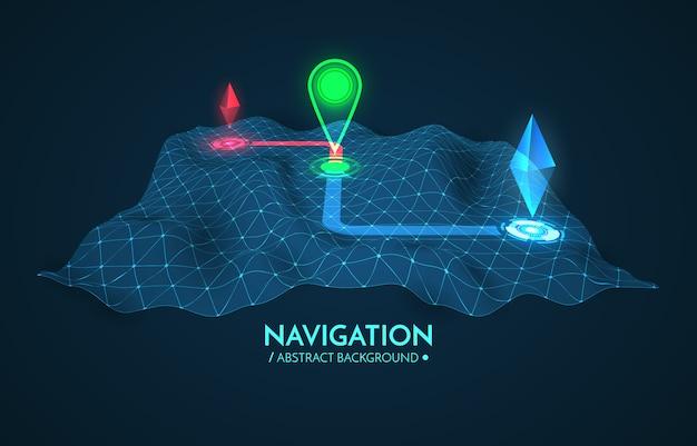 Gps navigation hintergrund. straßenkarte getrennt auf weiß mit nadelanzeige. Premium Vektoren