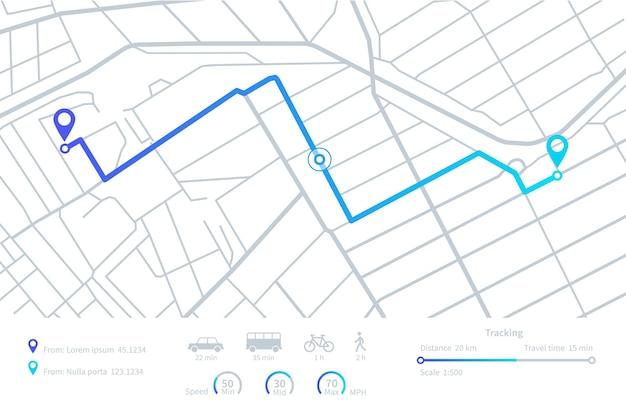 Gps navigation. routen planen. mobile navigationskarte mit standortstadtstraßen. entfernungsverfolgung. elemente der vektor-dashboard-schnittstelle. abbildung straße gps-route, entfernung roadmap-schnittstelle Premium Vektoren