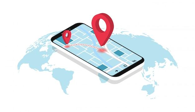 Gps navigation. smartphone mit karte, route und zeigern. geolocation. kartenwelt. Premium Vektoren