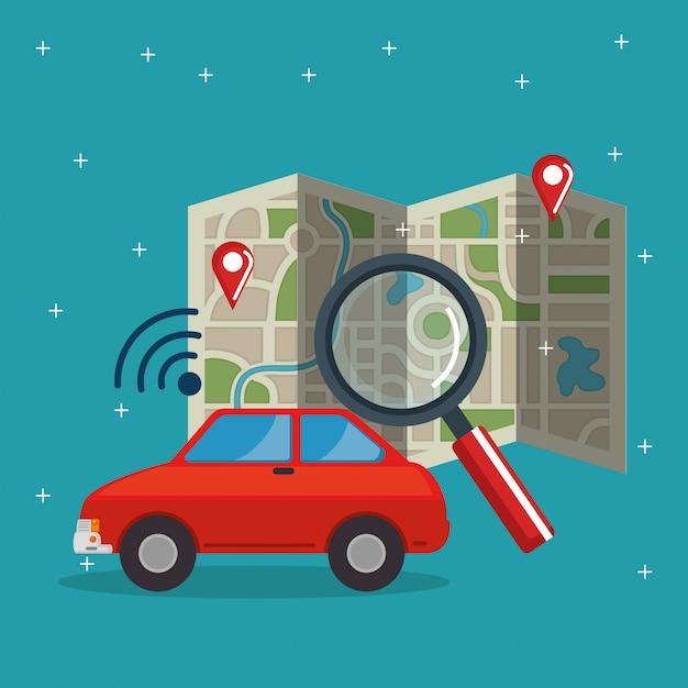 Gps-navigation stellen icons Kostenlosen Vektoren