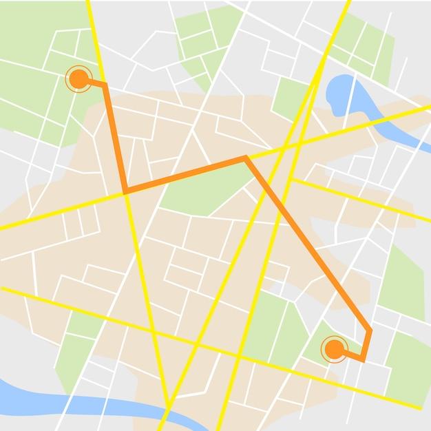 Gps navigation. straßenkarte lokalisiert auf weiß mit zeiger Premium Vektoren