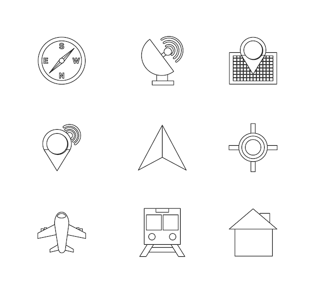 GPS-Symbol-Design festlegen | Download der Premium Vektor