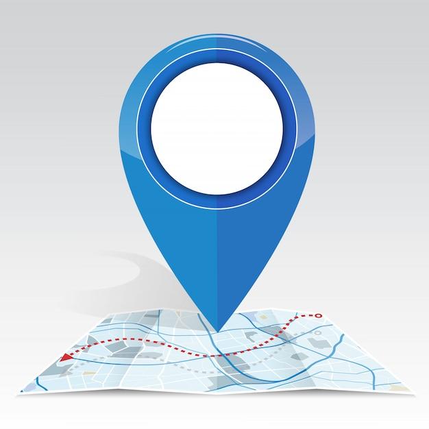 Gps-symbolmodell auf blauer karte der karte Premium Vektoren