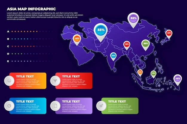 Gradient asien karte infografik Kostenlosen Vektoren