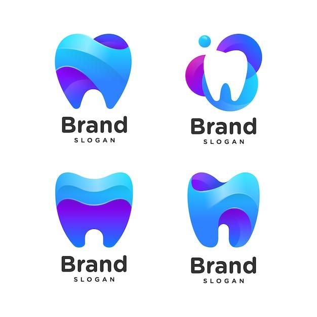Gradient dental logo-auflistung Premium Vektoren
