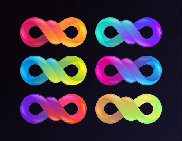 Gradient infinity sign sammlung Premium Vektoren