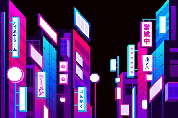 Gradient japanische straße mit neonlichtern Kostenlosen Vektoren
