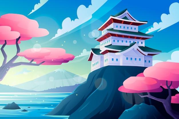 Gradient japanischer tempel auf einem felsen, der durch wasser umgeben wird Kostenlosen Vektoren