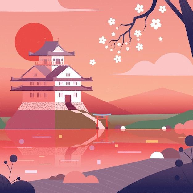 Gradient japanischer tempel mit weißen blumen Kostenlosen Vektoren