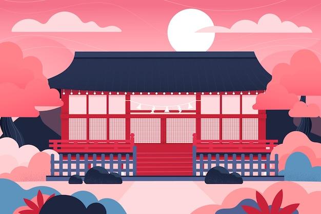 Gradient japanischer tempel und sonne Kostenlosen Vektoren