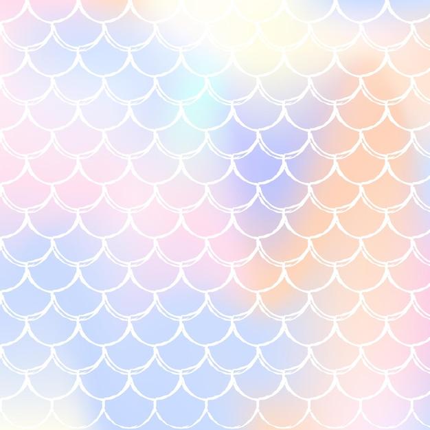 Gradient meerjungfrau hintergrund mit holographischen skalen. helle farbübergänge. schillernde kulisse mit farbverlauf meerjungfrau. Premium Vektoren