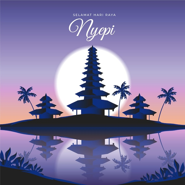 Gradient nyepi illustration Kostenlosen Vektoren