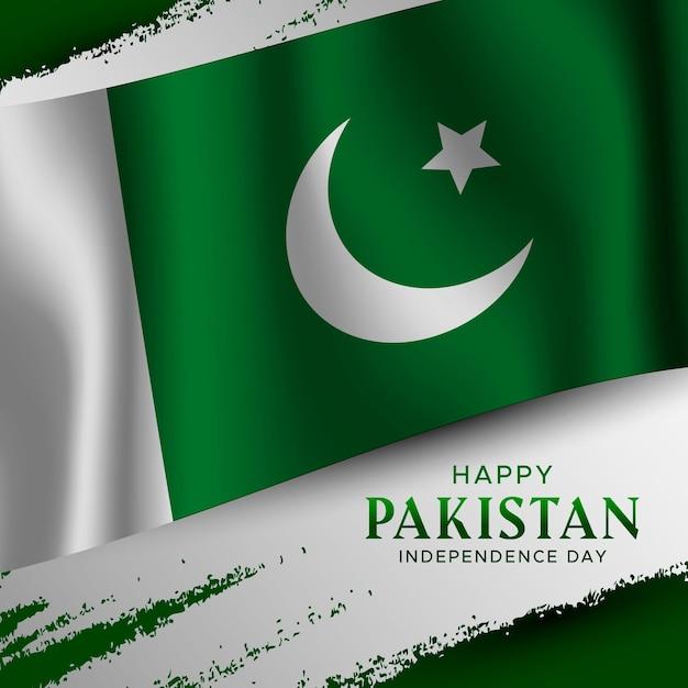 Gradient pakistan tag illustration mit flagge Kostenlosen Vektoren