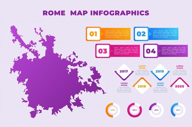 Gradient rom karte infografiken vorlage Kostenlosen Vektoren