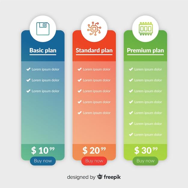 Gradientenpreislistensammlung Kostenlosen Vektoren