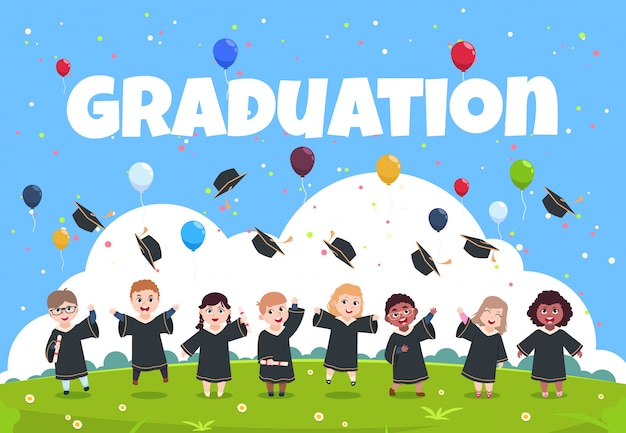 Graduiertenkinder feiern Premium Vektoren