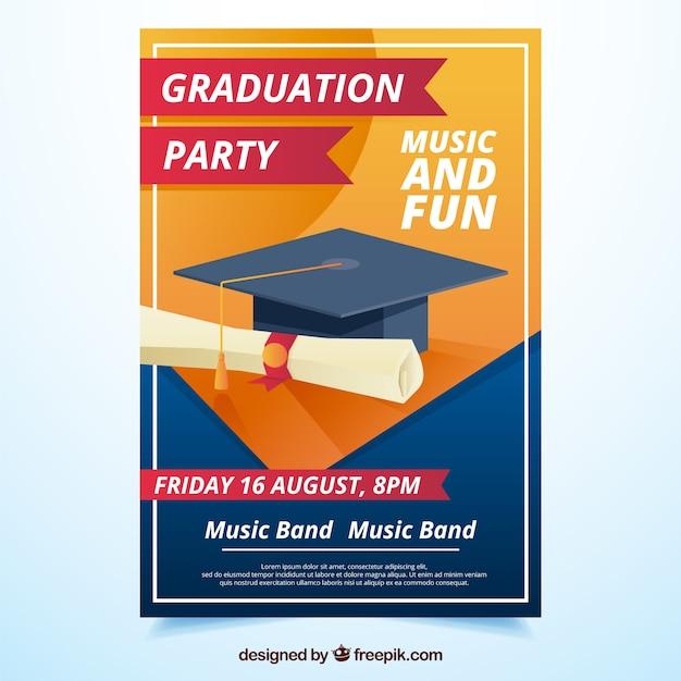 Graduierung party flyer mit diplom und abschluss cap Kostenlosen Vektoren