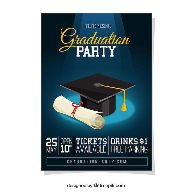 Graduierung party poster mit diplom und abschluss cap Kostenlosen Vektoren