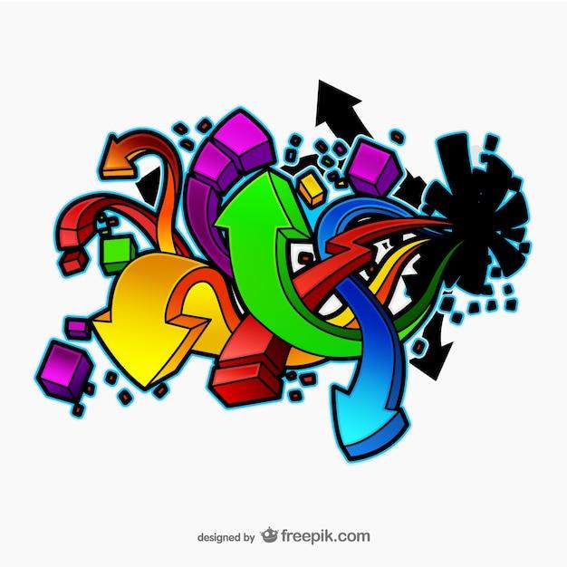 Graffiti pfeile vektor Kostenlosen Vektoren