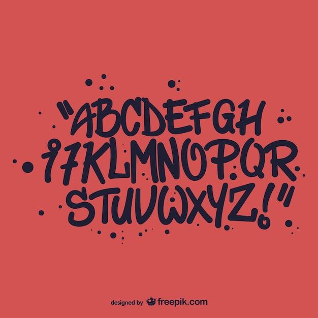 Graffiti-stil alphabet buchstaben Kostenlosen Vektoren