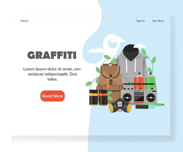 Graffiti-website-landingpage-vorlage Premium Vektoren