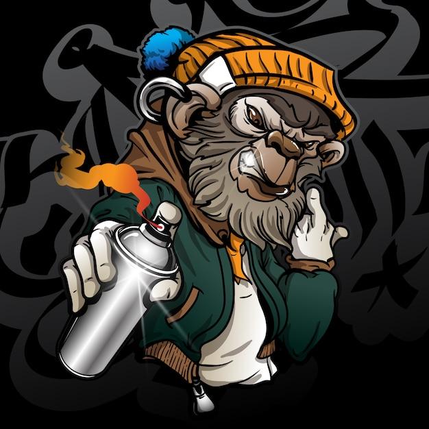 Graffiticharakter-hippie-affe, der eine sprühfarbe hält Premium Vektoren