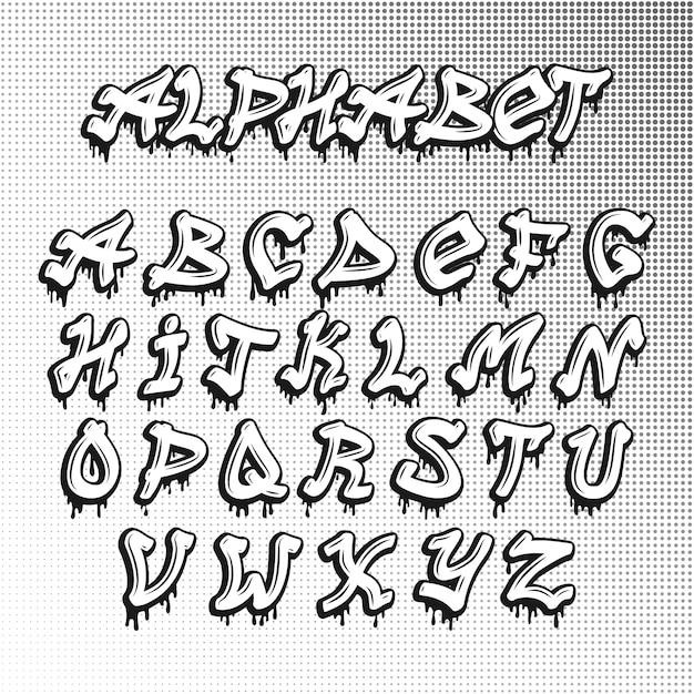Graffity-schriftart Premium Vektoren