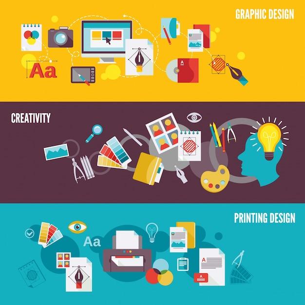 Grafik-design digitale fotografie banner-set mit kreativität druck isoliert vektor-illustration Kostenlosen Vektoren