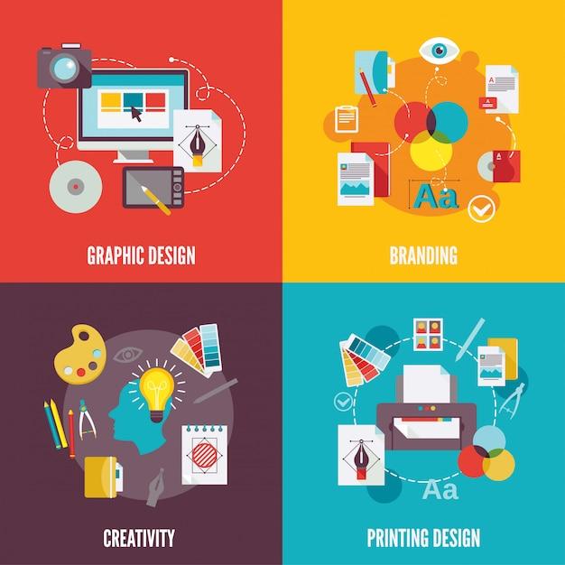 Grafik-design-element zusammensetzung flach Premium Vektoren