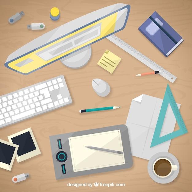 Grafik designer schreibtisch in draufsicht download der for Grafik designer