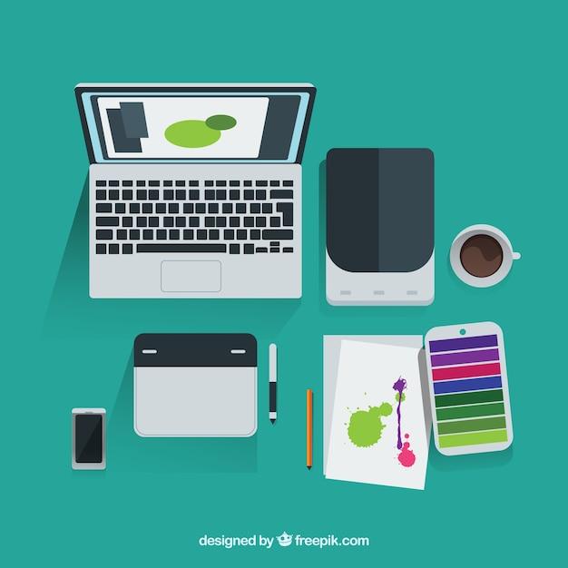 Grafik designer tools in der draufsicht download der for Grafik designer