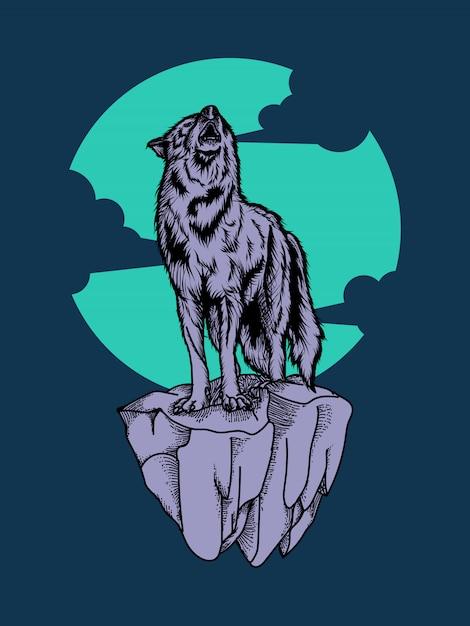 Grafik illustration und t-shirt design wolf premium Premium Vektoren